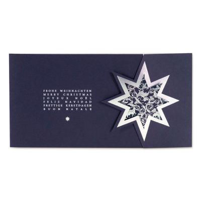 Dunkelblaue Weihnachtskarte mit Sternsymbol in Silberfolienprägung (847.035)