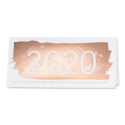 Neujahrskarte für Unternehmen mit Jahreszahl 2020 und Kupferfolienprägung (849.019)