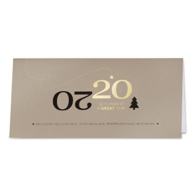 Firmen Neujahrskarte mit Jahreszahl 2020 in Schwarz- und Goldfolienprägung (849.036)