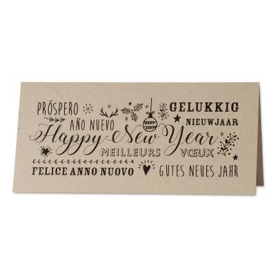 Internationale geschäftliche Neujahrskarte im Handlettering Stil aus Kraftpapier (849.040)