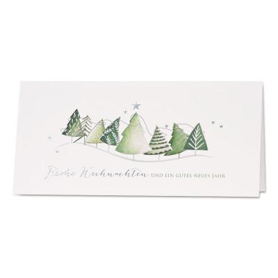 Weihnachtskarte mit grünen Weihnachtsbäumen (868.075)