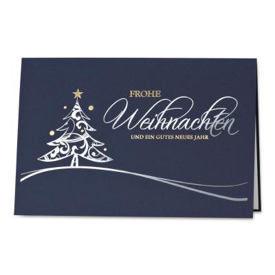 Weihnachtskarte mit edlem Weihnachtsbaum in Silber- u. Goldfolie (868.080)