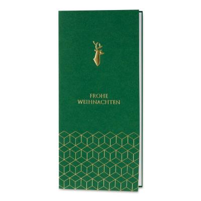 Geschäftliche grüne Weihnachtskarte mit geometrischen Formen in Goldfolie (869.020)