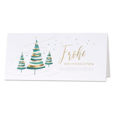 Internationale weiße Weihnachtskarte mit pastellfarbenen Tannenbäumen (869.027)
