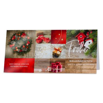 Traditionelle Firmen Weihnachtskarte mit Bescherung  (869.029)