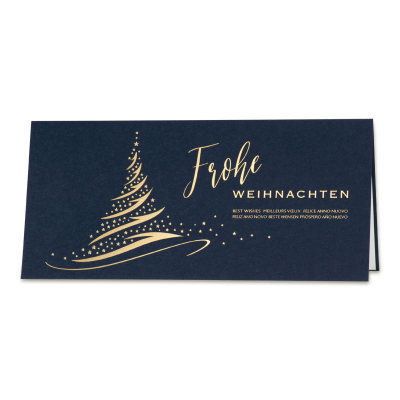 Geschäftliche blaue Weihnachtskarte mit Tannenbaum und Goldfolienprägung  (869.030)