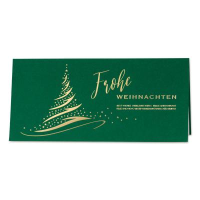 Geschäftliche grüne Weihnachtskarte mit Tannenbaum und Goldfolienprägung (869.031)