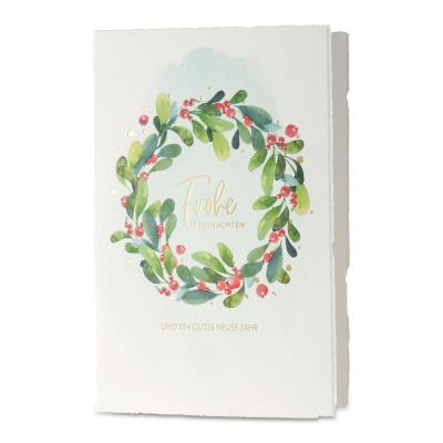 Weihnachtskarte aus Büttenpapier mit Lorbeerkranz (869.034)