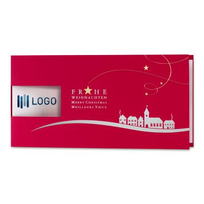 Rote Firmen Weihnachtskarte mit Fensterstanzung und Gold- und Silberfolienprägun (869.035)