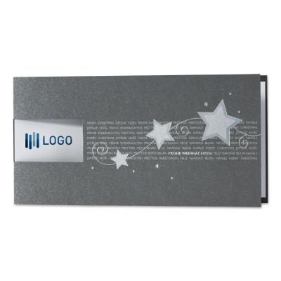 Anthrazitfarbene Firmen Weihnachtskarte mit Silberfolie und Fensterstanzung (869.036)