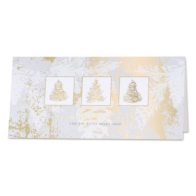 Exklusive Firmen Weihnachts- und Neujahrskarte mit 3 goldenen Tannenbäumen (869.038)