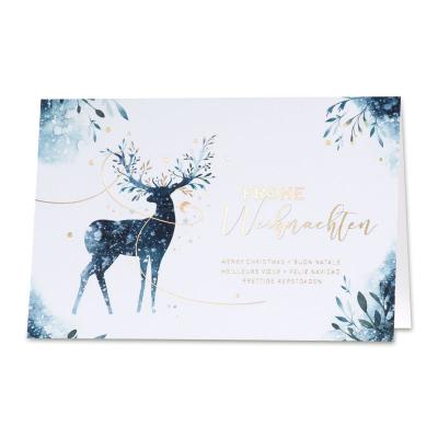 Edle geschäftliche Weihnachtskarte mit Hirsch und Goldfolienprägung (869.039)