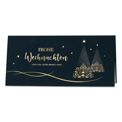 Dunkelblaue Weihnachtskarte mit floraler Goldfolienprägung (869.041)
