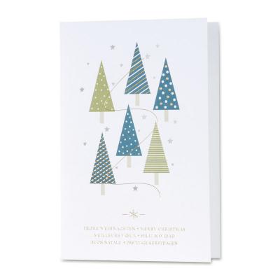 Geschäftliche Weihnachtskarte mit Tannenbäumen und Gold- und Silberfolienprägung (869.042)