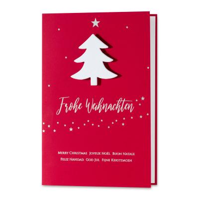 Geschäftliche rote Weihnachtskarte mit Weihnachtsbaum als Aufklebemotiv (869.048)