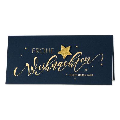 Blaue Business Weihnachtskarte Handlettering mit Glitterstern Aufklebemotiv (869.050)