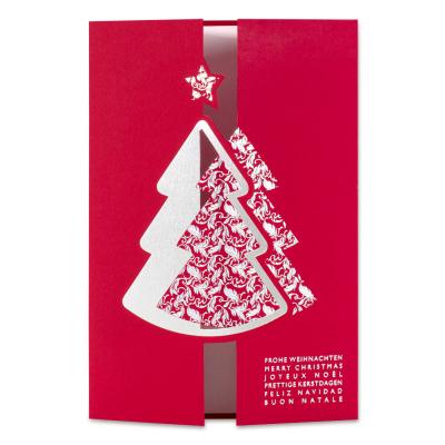 Rote Firmen Weihnachtskarte mit Tannenbaum-Verschluß in Silberfolie (869.055)