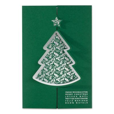 Grüne Firmen Weihnachtskarte mit Tannenbaum-Verschluß in Silberfolie (869.056)