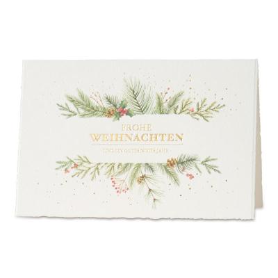 Weihnachts- und Neujahrskarte aus Büttenpapier mit Weihnachtsschmuck (869.057)