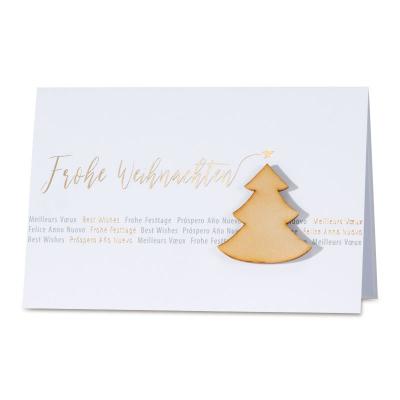 Firmen Weihnachtskarte mit Tannenbaum aus Holz Applikation (869.060)
