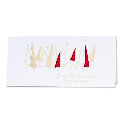 Firmen Weihnachtskarte mit Goldfolie und rotem Einlegeblatt  (869.061)