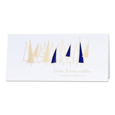 Firmen Weihnachtskarte mit Goldfolie und blauem Einlegeblatt (869.062)