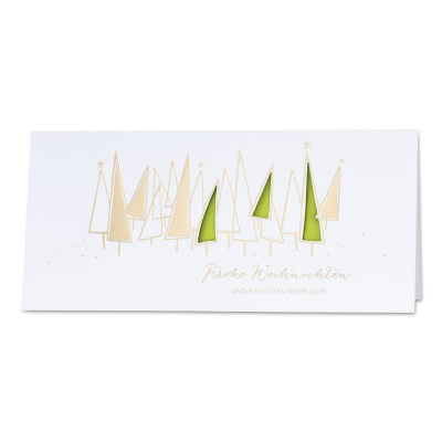 Firmen Weihnachtskarte mit Goldfolie und limonfarbenem Einlegeblatt  (869.063)