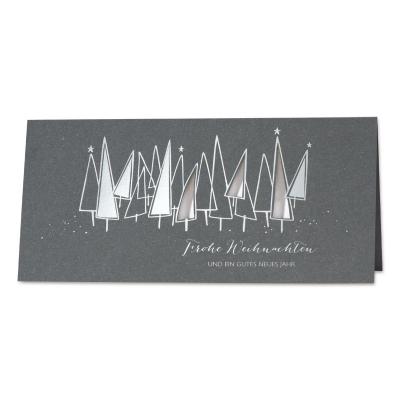 Firmen Weihnachtskarte mit Silberfolie und weißem Einlegeblatt  (869.064)
