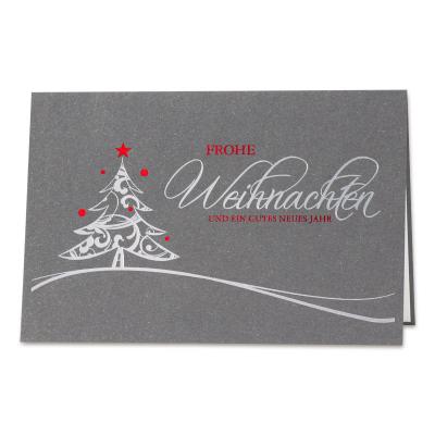 Anthrazitfarbene Weihnachtskarte mit Weihnachtsbaum in Rot- und Silberfolie (869.080)