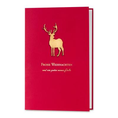 Rote Firmen Weihnachtskarte mit Hirsch aus Holz Applikation (869.081)