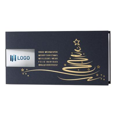 Blaue geschäftliche Weihnachtskarte mit Goldfolie und Fensterstanzung (869.083)