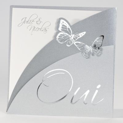 """Faire-part """"Oui"""" argenté  (102.059)"""