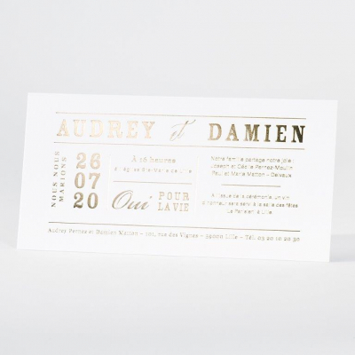 Invitation blanche en letterpress de luxe (133.022)