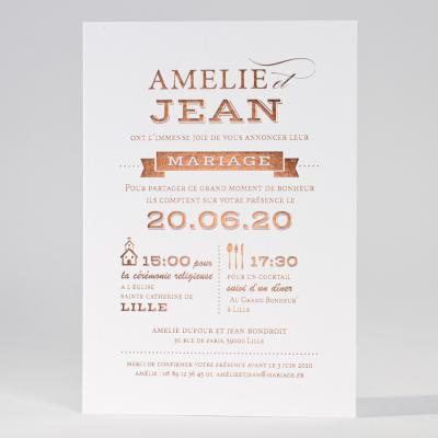 Invitation blanche en letterpress de luxe  (133.023)