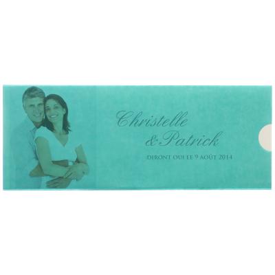 Carte triptyque au calque turquoise (313.012)