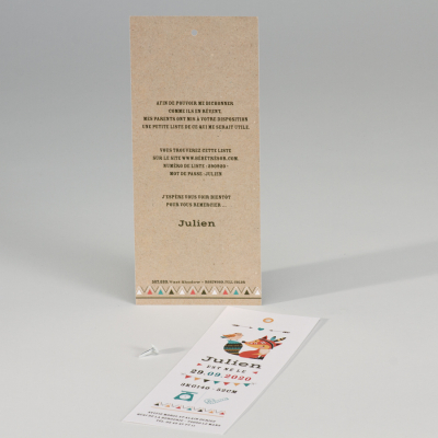 Faire-part naissance marque-page et indien (507.099)