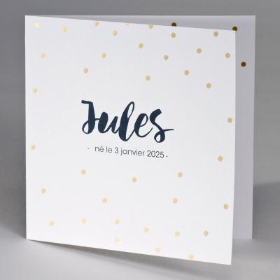 Faire-part blanc avec confetti en or (507.141)