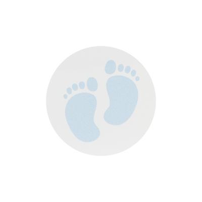 """Timbre ou étiquette bleu """"pieds bébé"""" (572.106)"""