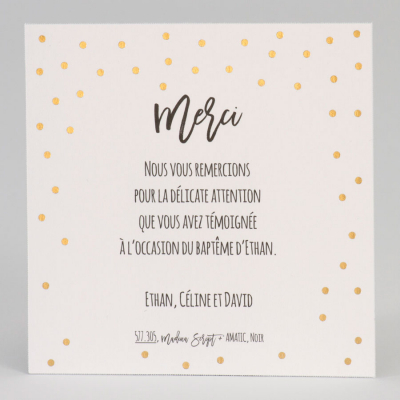 Carte remerciements confettis dorés (577.305)