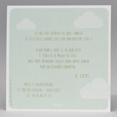 Carte baptême verte et nuage  (577.326)