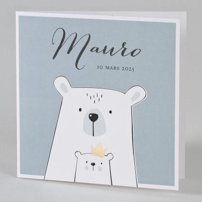 Faire-part maman et bébé ours   (589.002)