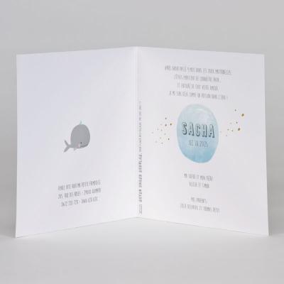 Faire-part baleine et confetti en dorure (589.014)