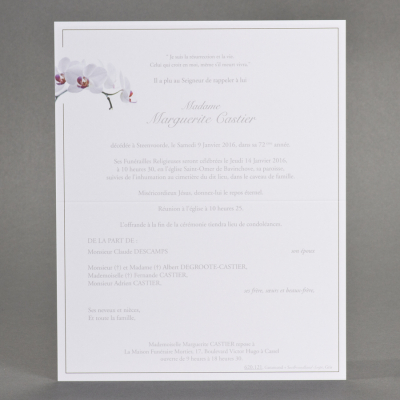 Billet civil papier blanc orchidée  (620.121)