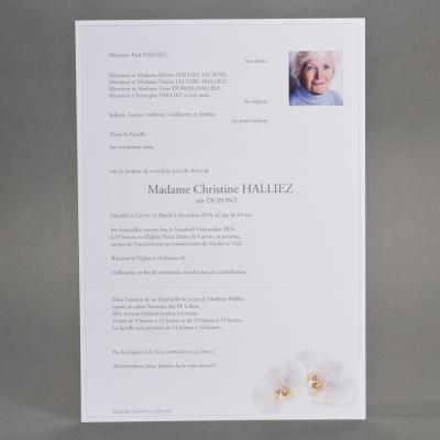 Billet civil A4 papier blanc 2 orchidées   (623.128)