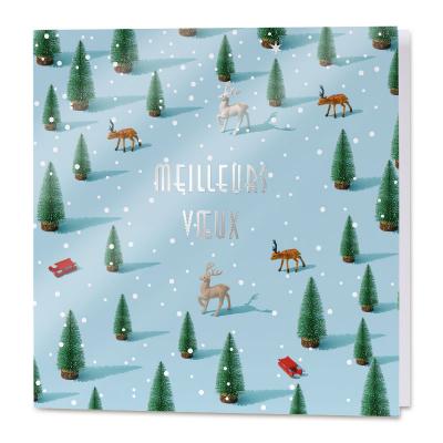 Carte de vœux professionnelle sapin de Noël et flocons  (840.105)