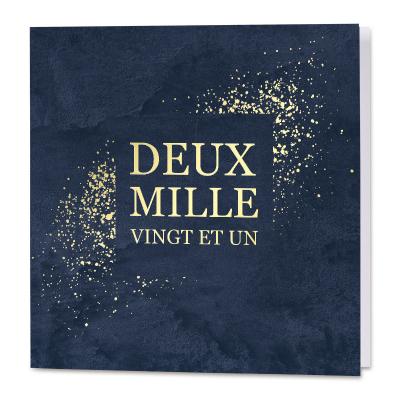 Deux mille vingt et un sur un fond bleu avec confetti en dorure (840.124)