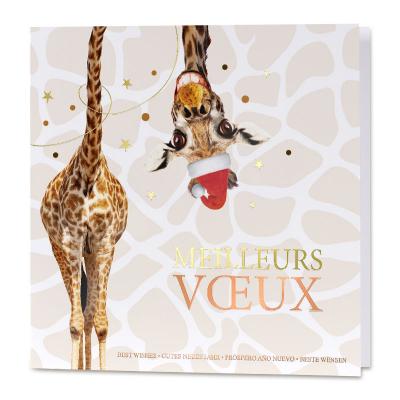 Carte de vœux entreprise girafe rigolote et dorure (840.133)
