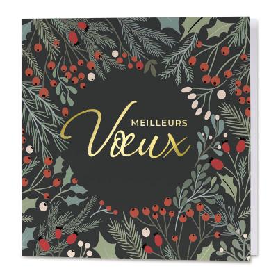 Carte de vœux entreprise houx et dorure vintage (840.137)