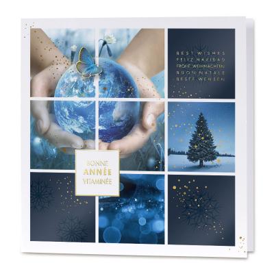Carte de vœux professionnelle fond bleu et photos (840.145)