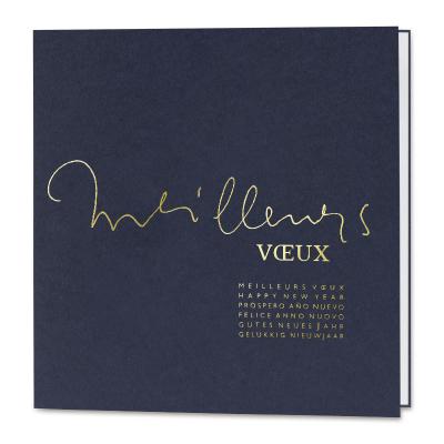 Carte de vœux professionnelle bleu foncé et meilleurs vœux en dorure (840.151)